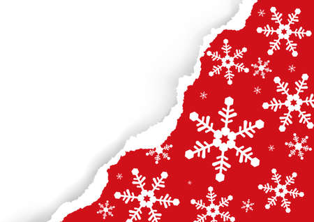 Christmas ripped paper, red background with snowflakes. Illustration of red torn paper background with place for your text or image. Vector available. Иллюстрация