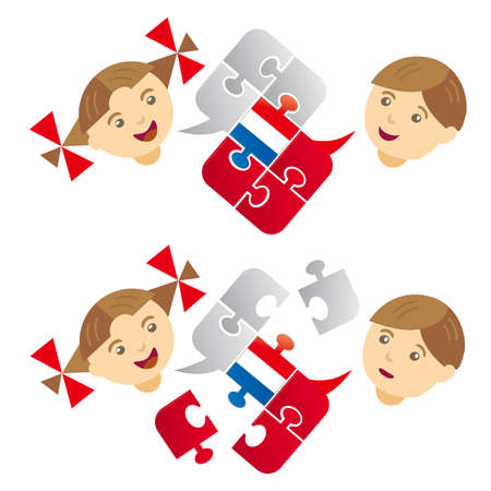 Kids, French lesson dialog. Illustration of little boy and girl with a Puzzle bubble talk with a French flag. Vector available. Иллюстрация