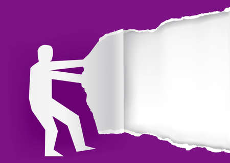 Man ripping paper background. Male silhouette ripped violet paper with place for your text or image. Vector available. Иллюстрация