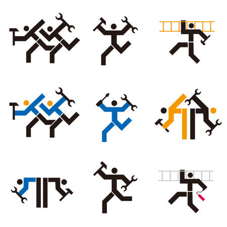 Repairman, fitter, handyman icons. Set of black an colorful symbols with workers with tools. Vector available.