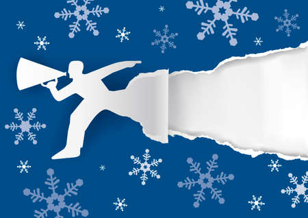 Man with megaphone on blue torn paper background with snowflakes. Illustration suitable for original winter flyer or banner. Place for your text or image. Vector available.
