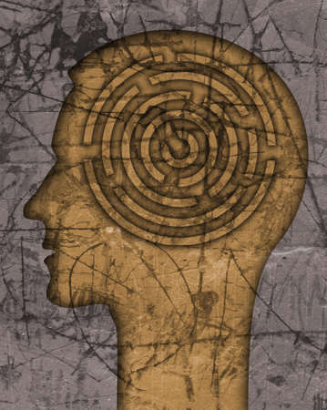 Man profile, Labyrinth of difficult life. Male head stylized silhouette on the scratched wall with maze symbolizing life stories.