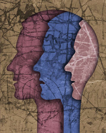Schizophrenia male head silhouette. Illustration with three stylized male heads on grunge texture symbolizing schizophrenia Depression, bipolar disorder.