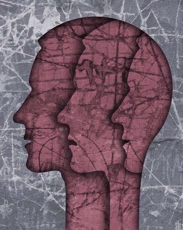 Schizophrenia male head silhouette. Illustration with three stylized male heads on grunge texture symbolizing schizophrenia Depression, bipolar disorder