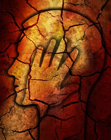 Stressed man, Burn out syndrome. Stylized male head silhouetteon Dry cracked earth background