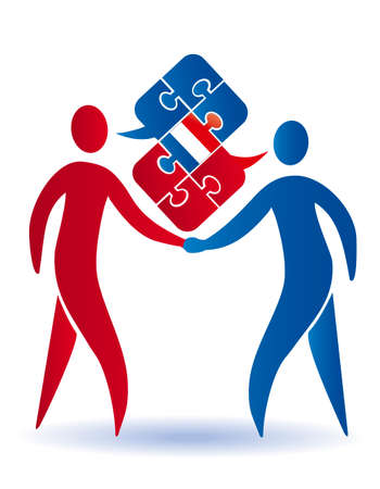 French business Conversation. Two businessmen shaking hands and Puzzle bubble talk with a French flag. Vector available.