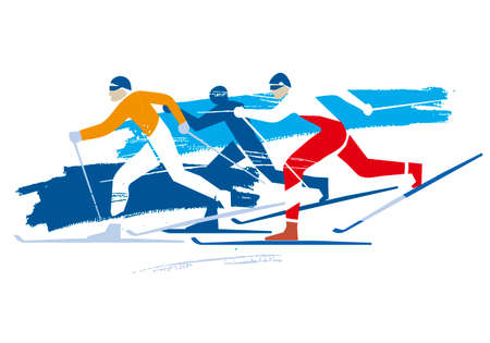 Cross Country Skiers. A expressive stylized drawing of three cross-country ski competitors. Vector available