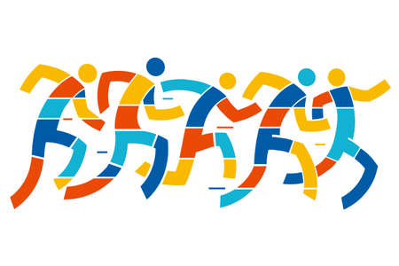 Running race, runners. Abstract Stylized illustration of five runners. Vector available.