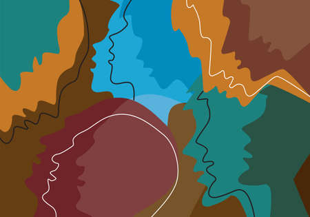 Human heads colored background, emotion, psychology concept. Stylized Illustration of Different people profile heads symbolizing human emotions. Vector available.