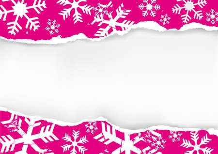 Pink Ripped christmas paper. Grunge stylized snowflakes background with torn paper with place for your text or image. Vector available.
