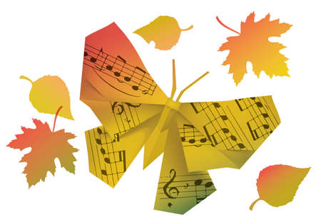 Origami butterfly with musical notes and autumn leaves. Illustration of paper model of butterfly in autumn colors symbolizing autumn mood. Vector available.