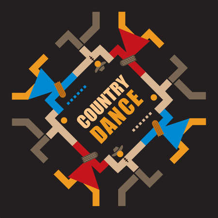 Country Dancing party, line dance, abstract decorative symbol. Inscription COUNTRY DANCE in the middle of a dancing couples. Vector available. Vetores