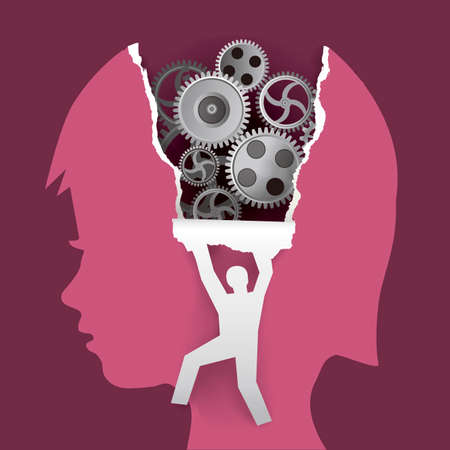 Child psychology, psychological examination concept. Little child head in profile with gear and male silhouette ripping paper background. Vector available.