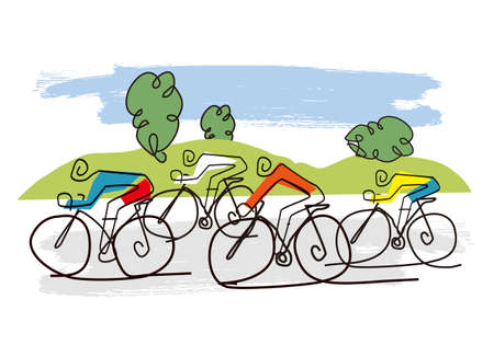Cycling race, line art stylized cartoon. Stylized drawing of road cyclists in a hilly landscape. Vector available