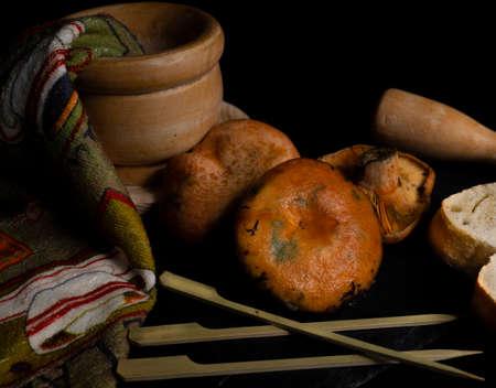 Still life with mushrooms of the variety