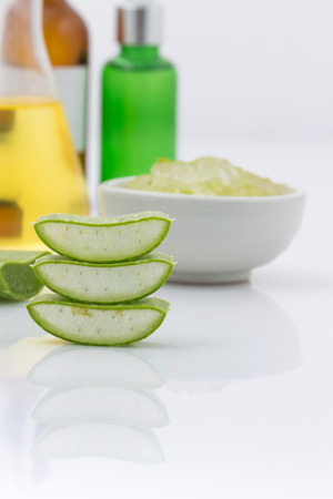 free radicals: aloe vera fresh leaf  water can help neutralize free radicals Contributes to aging. And help strengthen the immune system as well isolated on white