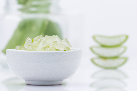 contributes: aloe vera fresh leaf  water can help neutralize free radicals Contributes to aging. And help strengthen the immune system as well isolated on white