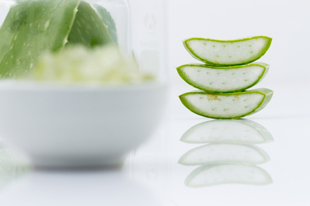 radicals: aloe vera fresh leaf  water can help neutralize free radicals Contributes to aging. And help strengthen the immune system as well isolated on white