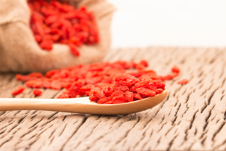chinese wolfberry: White Bowl with dried goji berries
