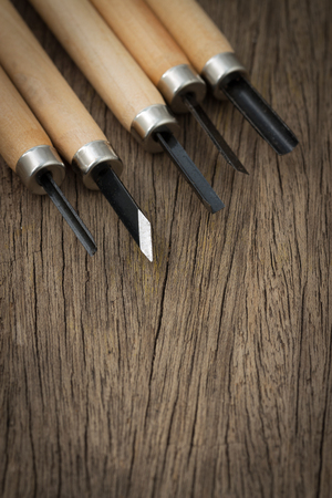 5 Pcs Wood Carving Carvers Working Chisel Hand Tool Set WoodWorking on the wooden table Stock Photo