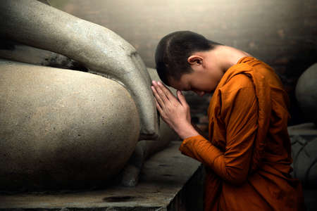 dispassionate: Novices are worshiping Buddha with faith.