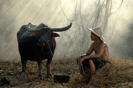 familias felices: Granjero asiático con su búfalo
