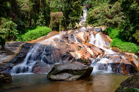 Rocks, trees and waterfall in landscape, Koh Samui, southern, Thailand
