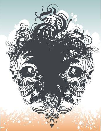 Demonic skull illustration