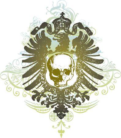 Skull shield illustration