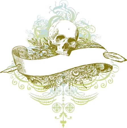 Skull banner illustration 版權商用圖片