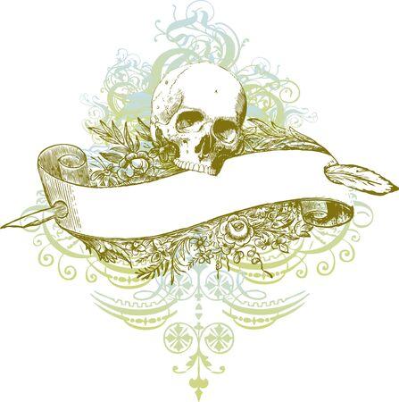 Skull banner illustration Stock Photo