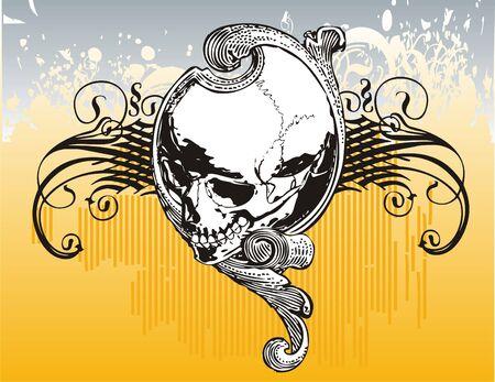 Tribal skull illustration Stock Photo