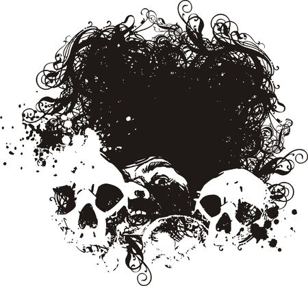 zwart gat: Zwart gat schedel illustratie