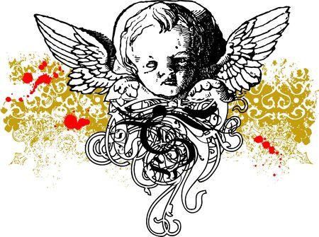 Wicked cherub illustration Stock Photo