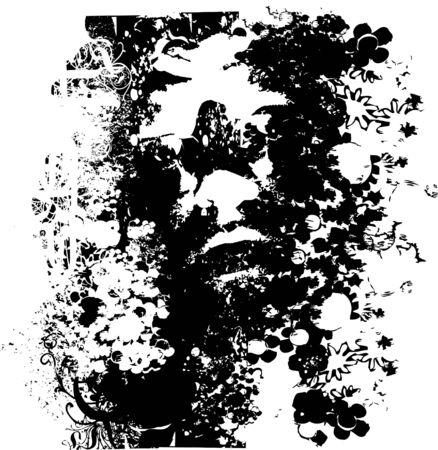 Grunge floral face illustration Stock Photo