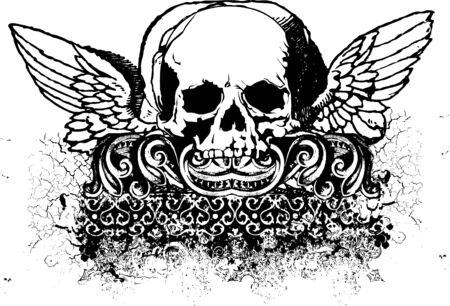 Cherub skull illustration