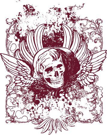 Wicked angel skull illustration Stock Photo