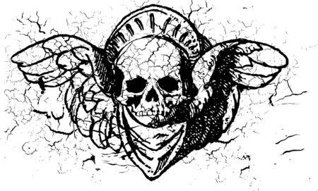 Ornamental skull illustration