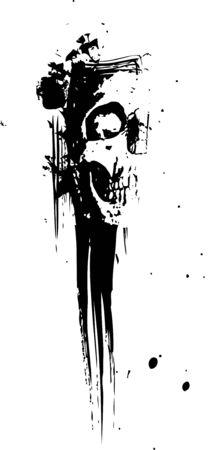 skull splatter illustration