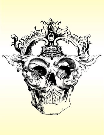 Demented skull illustration