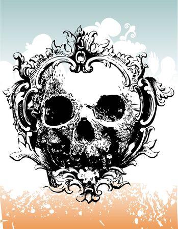 Decayed skull illustration Stock Photo