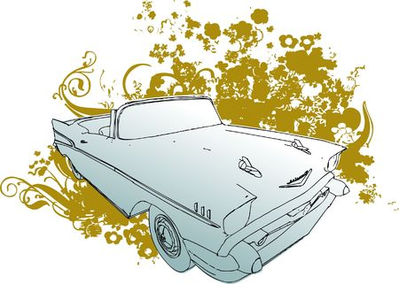 Stylized classic car illustration