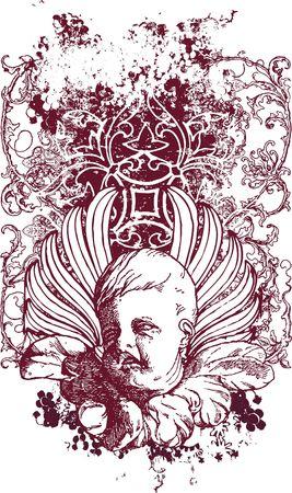 Gothic cherub illustration Stock Photo
