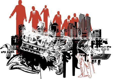 都市景観の抽象的なイラスト