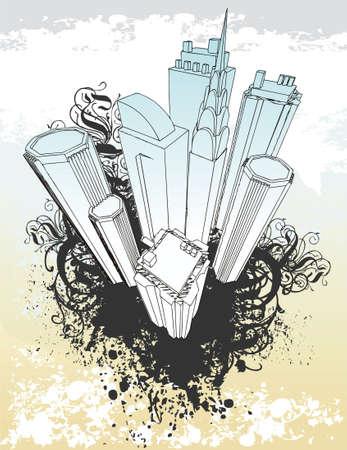 Cityscape grunge illustration