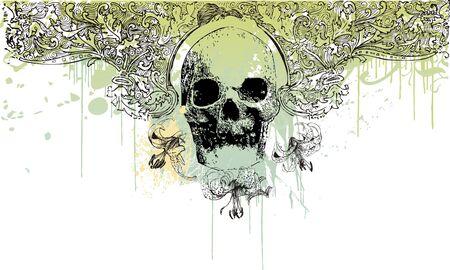 Gothic grunge skull illustration Stock Photo
