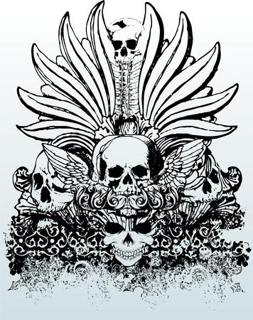 部族の頭蓋骨のベクトル図