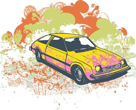 Retro grunge hatchback vector car illustration