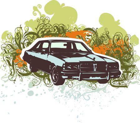 Grungy car vector illustration Illusztráció