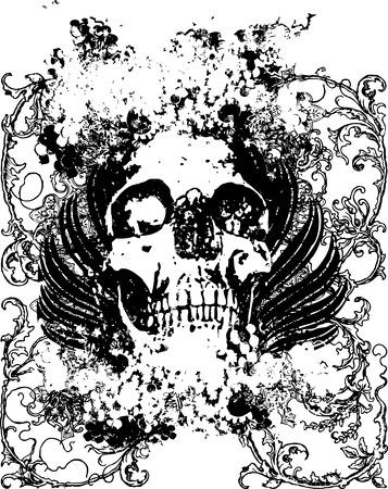 FLoral grunge vector skull illustration